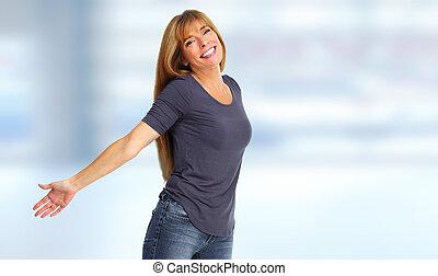 kobieta, portrait., szczęśliwy