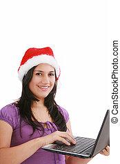 kobieta, pracujący, handlowy, claus, święty, biuro, kapelusz, piękny