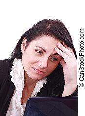 kobieta, pracujący, handlowy, smutny, biuro, laptop., headache!