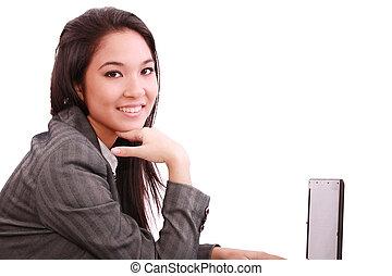 kobieta, pracujący, handlowy, uśmiechanie się, laptop, piękny