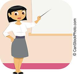 kobieta, prezentacja, handlowy