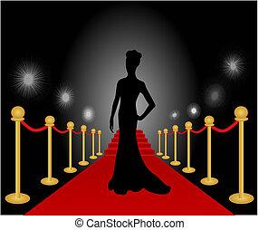 kobieta, przedstawianie, wektor, czerwony dywan