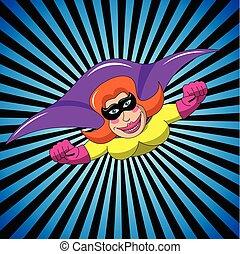 kobieta, przelotny, superhero, zamaskowany