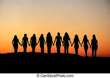 kobieta, przyjaźń, silhouette.