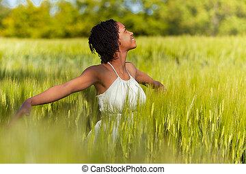 kobieta, pszenica, ludzie, -, pole, amerykanka, afrykanin