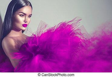 kobieta, purpurowy, brunetka, studio, wspaniały, przedstawianie, wzór, strój