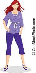 kobieta, purpurowy