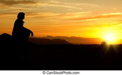 kobieta, rectified, zachód słońca, ostrza, szorstki, sylwetka