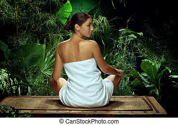 kobieta rozmyślająca, młody, środowisko, zdrój, zwrotnik, ładny, prospekt