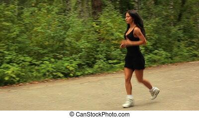 kobieta, running., młody