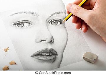 kobieta, rysunek, ręka, twarz