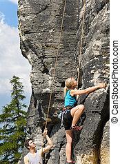 kobieta, słoneczny, blond, skała wspinaczkowa, instruktor, samiec