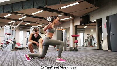 kobieta, sala gimnastyczna, barbell, mięśnie, giętkość, człowiek