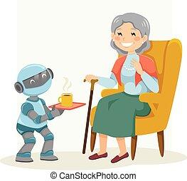 kobieta, senior, robot, pomagając, eldercare