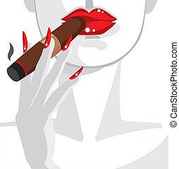 kobieta, sexy, palenie cygaro, czerwony