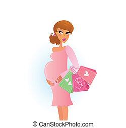 kobieta shopping, brzemienny
