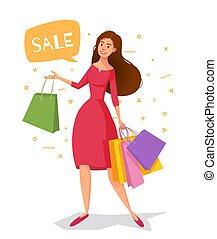 kobieta, shopping., idzie, pakunki, strój, rysunek, czerwony