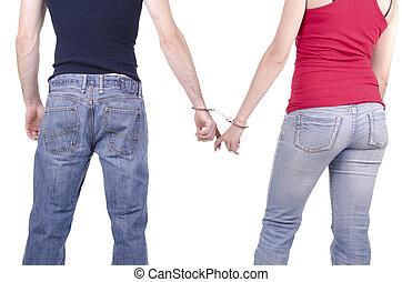 kobieta, siła robocza, człowiek, handcuffs.
