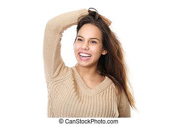 kobieta, siła robocza, włosy, młody, portret, śmiech