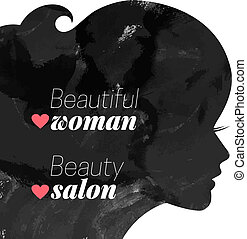 kobieta, silhouette., fason, piękny