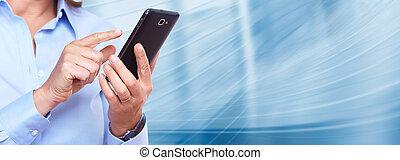 kobieta, smartphone., siła robocza