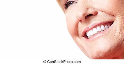 kobieta, smile., szczęśliwy