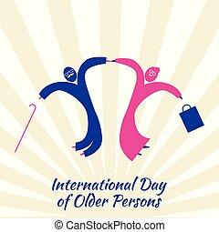 kobieta, stary, starszy, radość, person., skokowy, międzynarodowy, dzień, człowiek