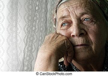 kobieta, stary, zadumany, smutny, samotny, senior
