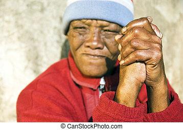 kobieta, stary, zwietrzały, fałdowy, afrykanin, -, ognisko, siła robocza