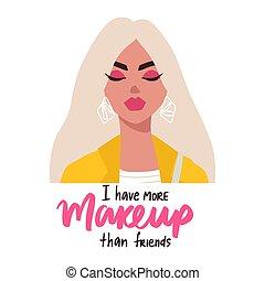kobieta, styl, okulary, modny, blondynka, płaski, phrase., quote., portret, natchnienie, dziewczyna, makijaż, fason