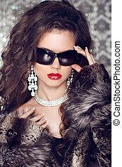 kobieta, sunglasses, fason, luksus, portret, szykowny, wzór