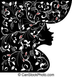 kobieta, sylwetka, fryzura, twarz, projektować, kwiatowy, twój