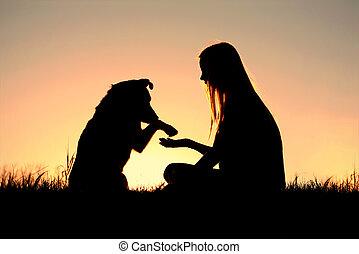 kobieta, sylwetka, jej, pies, ręki potrząsające