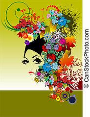 kobieta, sylwetka, kwiatowy