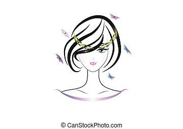 kobieta, sylwetka, logo, ładny, twarz