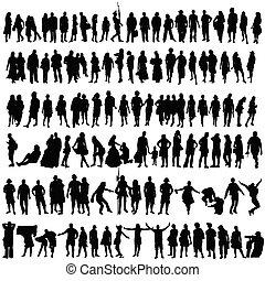 kobieta, sylwetka, ludzie, wektor, czarny człowiek