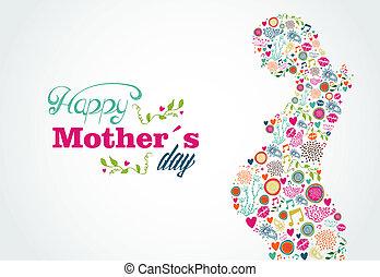 kobieta, sylwetka, matki, brzemienny, ilustracja, szczęśliwy