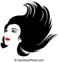 kobieta, sylwetka, odizolowany, włosy, wektor, fałdzisty