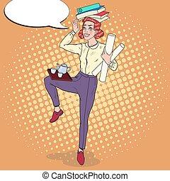 kobieta, sztuka, biuro, handlowy, work., ilustracja, przeładować, secretary., wektor, hukiem, multitasking