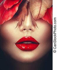 kobieta, sztuka, makijaż, jesień, fall., fason, portrait.