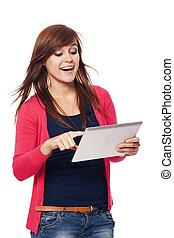 kobieta, tabliczka, młody, cyfrowy, używając, szczęśliwy