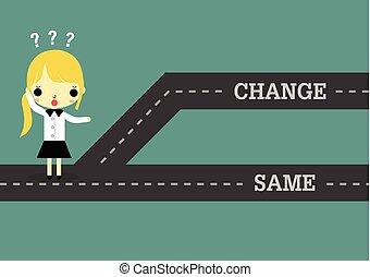 kobieta, tak samo, przeszły, przyszłość, typować, albo, zmiana
