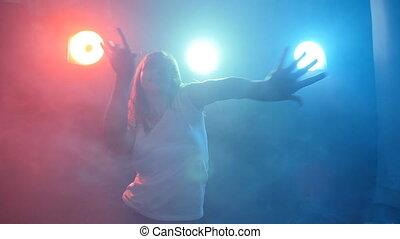 kobieta taniec, kolor, lekki, młody, dyskoteka