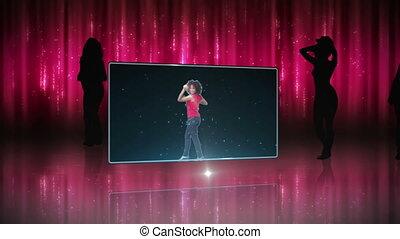 kobieta taniec, różowy
