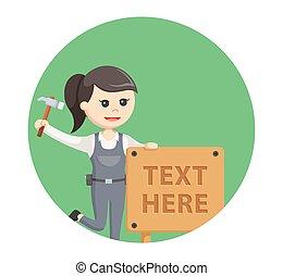 kobieta, tekst, stolarz, znak, drewno, tło, koło
