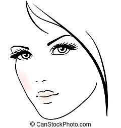 kobieta twarz, piękny