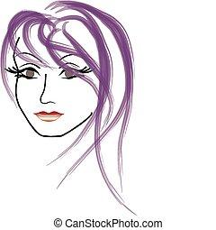 kobieta twarz, wektor, piękny