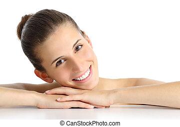 kobieta, uśmiech, kasownik, doskonały, portret, twarzowy, piękny, biały