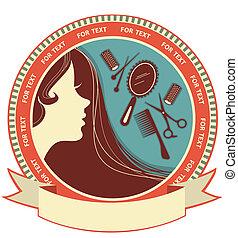 kobieta, włosiany salon, tło, twarz