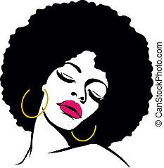kobieta, włosy, hipis, sztuka, afro, hukiem